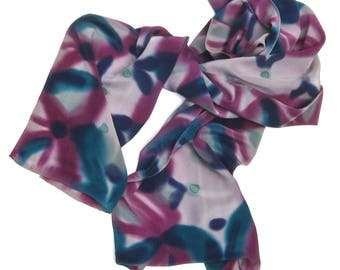 Long scarf, hand painted heavy silk, in teal, indigo, and burgundy violet on gray or sage green.  Handpainted sllk scarf for men too!