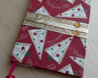 """Christmas Theme Decorated 8""""x5.5"""" Journal w/ Red Bell Bookmark"""