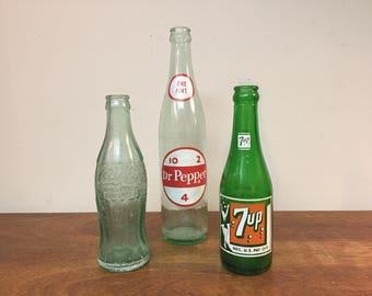 30% SALE *** Three Antique Glass Soda Bottles - 1930s - 1950s Coca Cola, Dr. Pepper & 7 Up