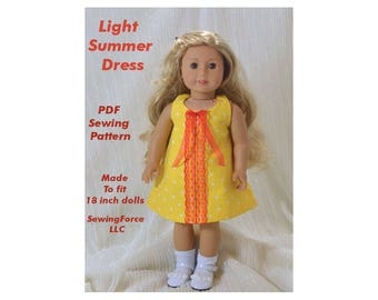 Light Summer Dress, 18 inch doll clothes pattern, American girl doll clothes pattern, PDF Sewing Pattern, instant download, easy to make