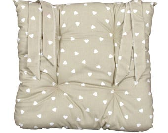 "40x40cm ""hearts off-white"" Chair pad"