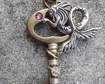 Pink Crystal Mermaid Key