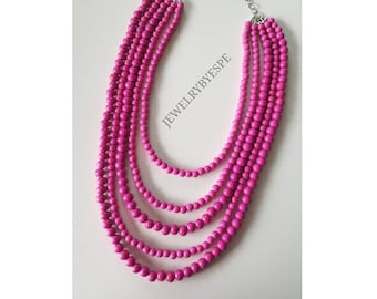 Hot Pink Necklace, Statement Necklace, Fuchsia Multi Strand Necklace, Pink Wedding Jewelry, Chunky Layered Necklace, Pink Layering