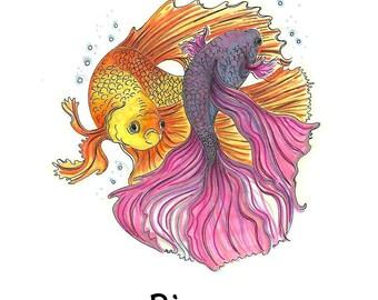 Zodiac horoscope Starsign  Pisces print.