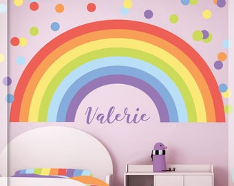 Pastel Rainbow Wall Decal   Pastel Polka Dot   Pastel Rainbow    Personalized Name Wall Decor