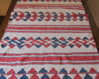 Antique 1890-1920 hand woven  Hungarian tablecloth or runner from Transylvania -  hand loomed ethnic tribal tablecloth