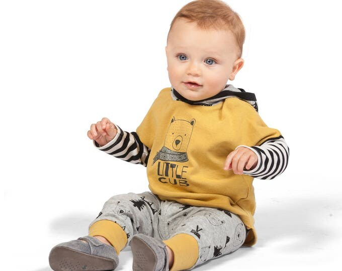Baby Boy Outfit, Baby Boy Long Sleeve Hoodie, Baby Boy Leggings, Bear, Heather Gray, TesaBabe