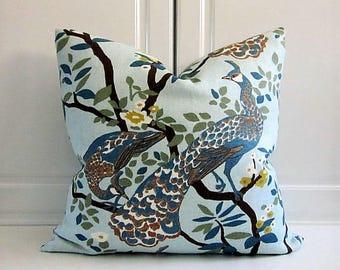 Robert Allen Decorative Pillow Cover- Teal Blue Peacocks-18x18, 20x20,22x22,24x24