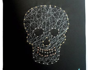 Nail and string art etsy skull canvas nail and string art canvas skull string wall art skull art prinsesfo Image collections