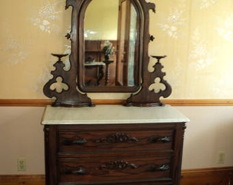 Fine Antique Victorian Marble Top Dresser, Faux Rosewood Finish
