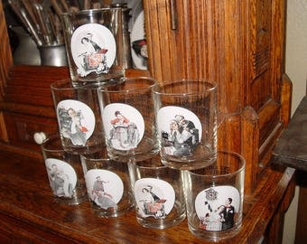 Collectible Norman Rockwell's Saturday Evening Post Glass Bar Tumblers, 8 Pc. Set