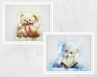 Teddy Bear prints. Teddy wall art. Nursery wall art, Nursery prints, nursery decor, Kids wall art, children's wall art, teddy bears