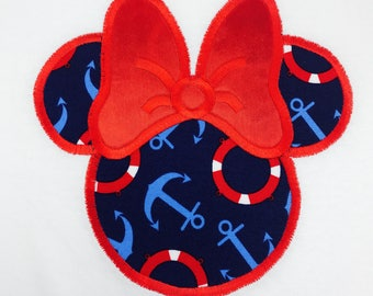 Ms CRUISE Mouse Head with Red Bow T-Shirt Inspired by Minnie Applique and Personalized with Name