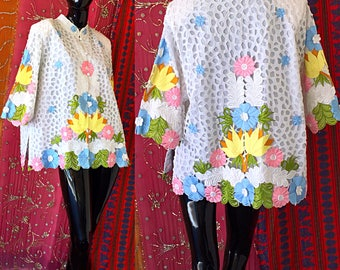70s Blouse Hawaiian Embroidered Blouse Psychedelic Lace Pastel Hawaii Blouse