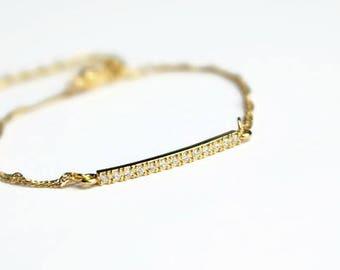 Shiny bar bracelet, dainty gold bracelet, twisted chain bracelet, sparkly bracelet, gold plated bracelet, thin bracelet,