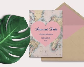 Destination Save the Date - Vintage Map Save the Date - Vintage Map - Vintage Wedding - Destination Wedding - Vintage - Save the Date Card