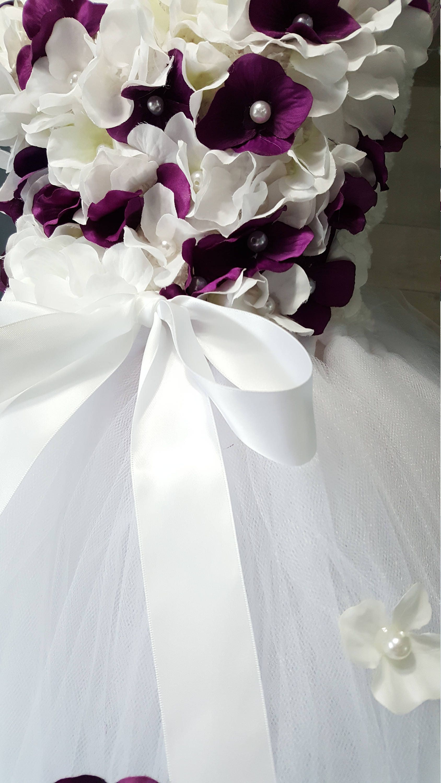 White And Purple Tutu Dress Flower Girl Dress Wedding Dress