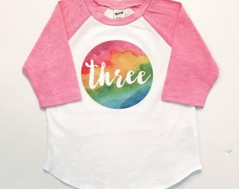 Girls Birthday Shirt - Watercolor Tee - Rainbow Party Tee - Unicorn Birthday - Watercolor Rainbow - Girl Raglan Tee - Toddler Graphic Tee