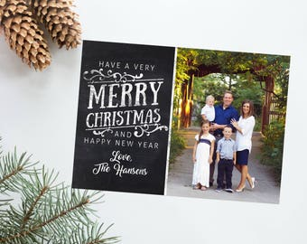 Photo Christmas Card Holiday New Year Chalkboard Chalk