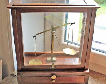 Antique Pharmaceutical Scales with glass box /End of 19th century Handmade Scientific scale with wooden box /