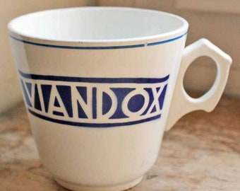 Antique cup for coffee with publicity advertisement Viandox, French mid century  Viandox mug/ No damage, rarely used/ ironsotone