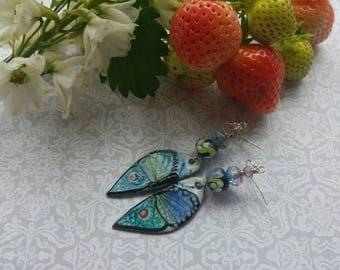Fluttering Earrings. Art jewelry. Lampwork. Artisan Enamels. Sterling silver. Fae jewelry. Uk artist. Gift for her.