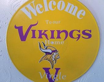 Personalized Vikings wall hanging, upcycled record album.