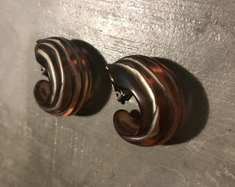 Bakelite 1960s Hoop Earrings Clip On