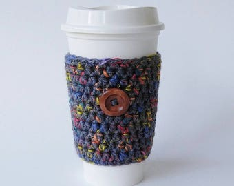 Crochet Coffee Cup Cozy, Coffee Cozy Grey Tweed,  Travel Sleeve, Coffee Cozy, Valentine's Day Gift