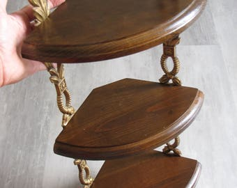 Wooden Three Tier Curio Shelf