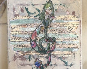 Fiddlestitch Treble Clef Stitched Canvas. Treble Clef. A perfect Music Gift for Music Lovers!