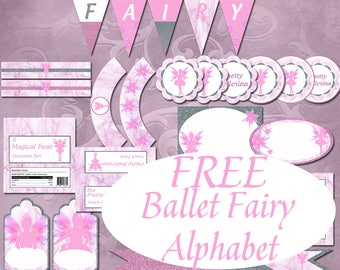 Ballerina Party Set Instant Download Printable Fairy Party Set