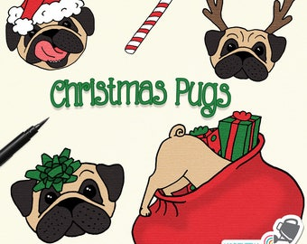 "Christmas Clip Art - ""Christmas Pugs"" - pug dog illustrations with Santa hats, reindeer horns, gift bows, presents, etc - commercial use OK"