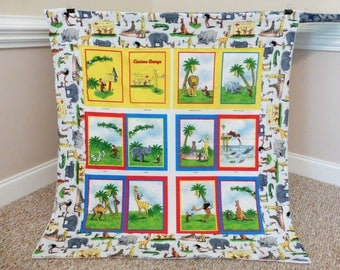 Quilt made from Curious George Fabric, Blanket made from Curious George fabric, Baby shower gift, Toddler Baby Quilt