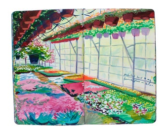 "Fine Art Print of Painting from Artist Travel Journal - ""Finland Greenhouse"""