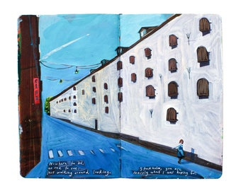 "Fine Art Print of Stockholm Cityscape Painting from Artist Sketchbook - ""Wandering Stockholm"""