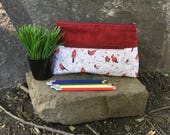 Pencil case, Pocket for pencils, Cosmetic Bag, Storage pouch, Red cardinal