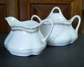 White Sugar Bowl Creamer, Vintage Sugar Bowl, Porcelain Sugar Bowl and Creamer, Bavaria Sugar Bowl Creamer, Shabby Sugar Bowl and Creamer