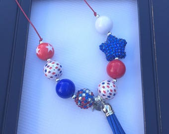 Red White and Blue Adjustable Cord Chunky Necklace // Adjustable // Chunky Bead Necklace // 4th of July // Patriotic // America