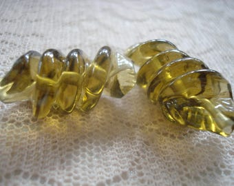 10 Lampwork Hand-Made Golden Olive Green Twisted Glass Beads. 28x16. Unique Big Beautiful Translucent Focal and Sun Catcher Beads.