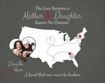 Personalized Gift for Mom, Long Distance Mom Gift, Birthday Gift for Mom, Going Away Gift, Mother-Daughter Quote, Long Distance Quote, 11b