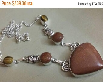 Holiday SALE 85 % OFF Sunstone Tiger Eye Necklace .925 Sterling  Silver  Gemstone