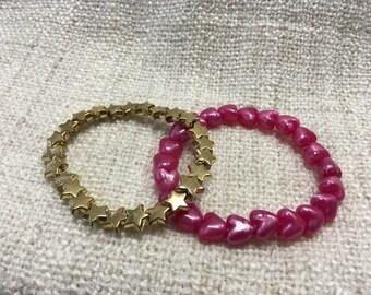 Funky Heart & Shining Star Beaded Bracelet