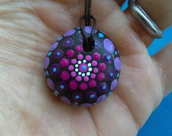 Handpainted mandala Stone necklace with leatherband