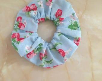 Strawberry print fabric hair scrunchie , hair scrunchie, hair scrunchie handmade with Cath Kidston fabric,ponytail holder, hair bobble