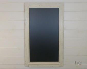 Large blackboard / chalkboard - Handmade. Rustic Aged White frame.