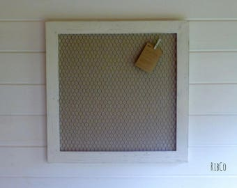 Notice Board Memo Board Pin Board Alternative. Hand made framed peg board - Aged white frame with rustic linen backing