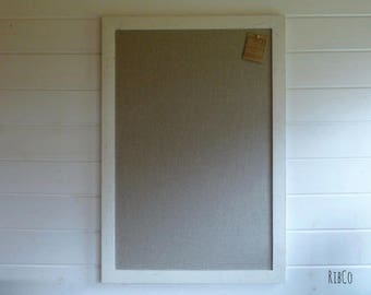 Extra Large Pinboard / Noticeboard with rustic linen backing and Aged white chalk frame