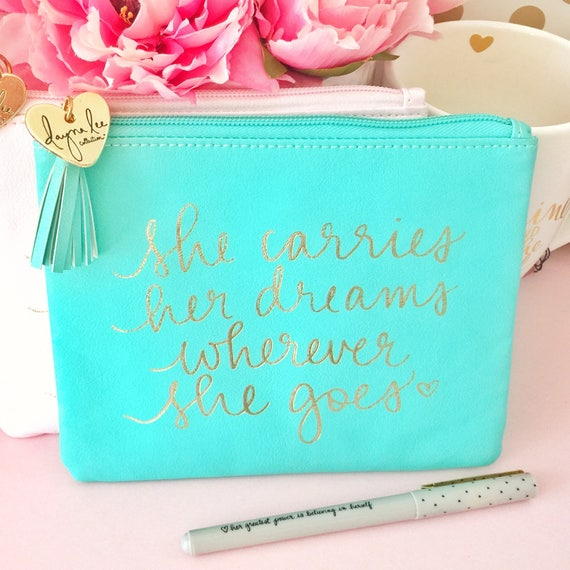 """DLC x Eccolo adorable 5.5"""" x 7"""" turquoise pouch - She carries her dreams wherever she goes"""