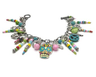 Sugar skull bracelet, charm bracelet, Hippie bracelet, boho accessories bracelet, day of the dead bracelet, skull jewelry bracelet